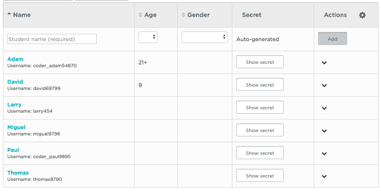 Creating accounts for students and adding them to your section